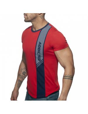 ADDICTED Vertical Stripe T-Shirt rot