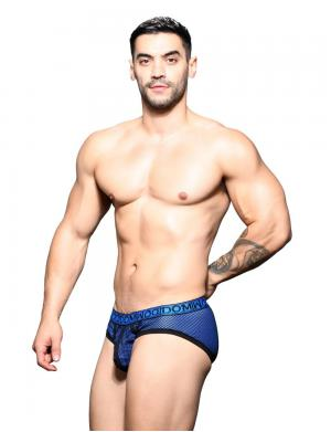 Andrew Christian Dom Double Mesh Brief schwarz / blau