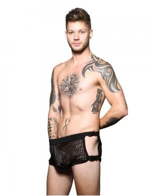 Andrew Christian FUKR Buckle Net Dance Shorts schwarz