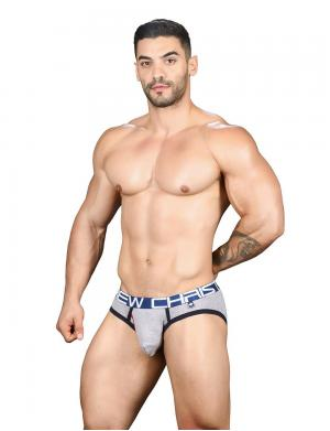 Andrew Christian Fly Tagless Brief w/ Almost Naked Heather Grey