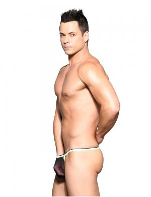 Andrew Christian Sheer Mesh Y-Back Thong w/ Almost Naked Schwarz