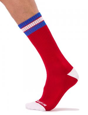 Barcode Berlin Fashion Socks Paris Rot / Weiß / Royalblau