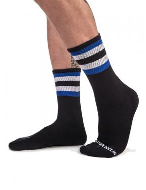 Barcode Berlin Fetish Half Socks STRIPES Schwarz / Royal / Weiß