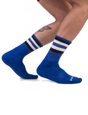 Barcode Berlin Fetish Half Socks STRIPES Royalblau / Schwarz / W