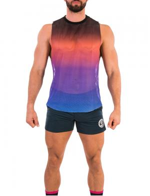 Barcode Berlin Mesh Tank Top Sunny Royal / Orange / Black