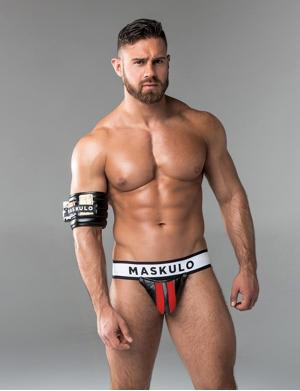 Maskulo Fetish Jockstrap. Detachable codpiece. rot / schwarz