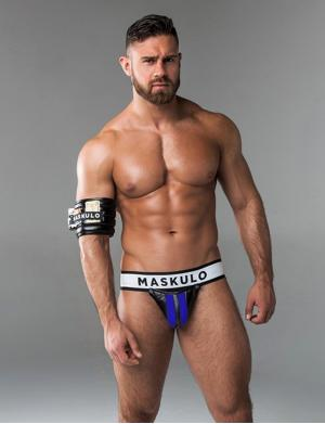 Maskulo Fetish Jockstrap. Detachable codpiece. Royalblau / Schwa