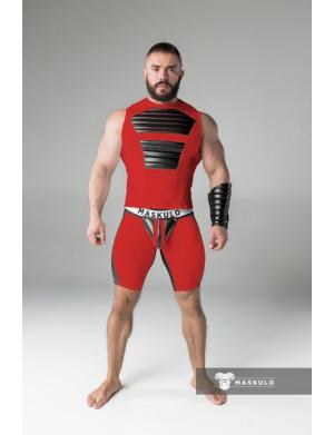 Maskulo Fetish Shorts. Codpiece. Rear Zipper. Thigh pads. rot /