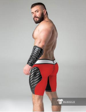 Maskulo Fetish Shorts. Codpiece. Zippered rear. Thigh Pads rot
