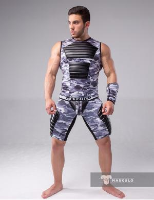 Maskulo Fetish Tank Top. Spandex. Front pads. Camo Grey