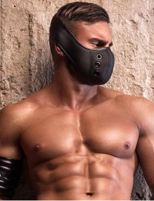 Maskulo Leather-look Mask. Muzzle. schwarz