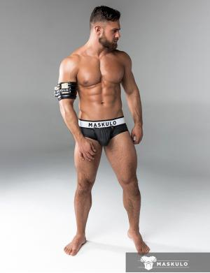 Maskulo Rubber look Briefs. Detachable pouch. Open rear. schwarz