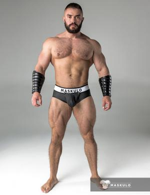 Maskulo Rubber look Briefs. Detachable pouch. Zippered rear. bla