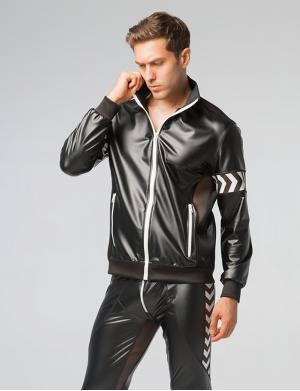 Maskulo Skulla. Men's Fetish Leatherette Jacket weiß